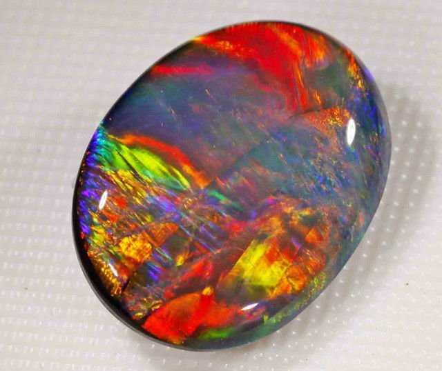 Black fire opal ring
