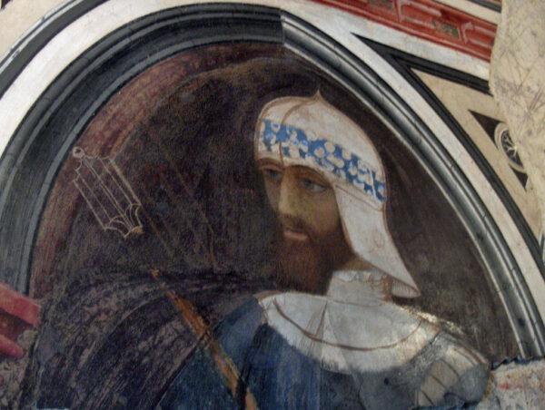 Godofredo de Bouillon, afresco, Palazzo Trinci, Foligno, Italia