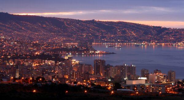 Valparaiso and Vina del Mar at night.