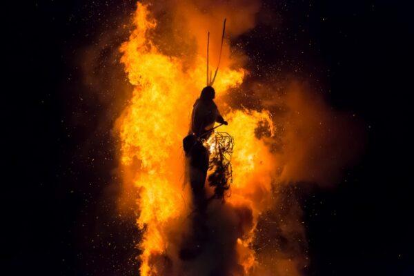 Old woman on bonfire