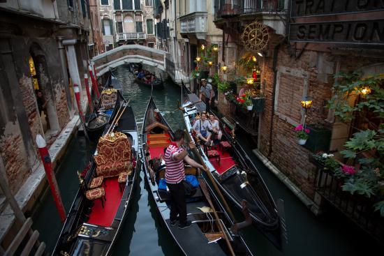 Gondolas in canal