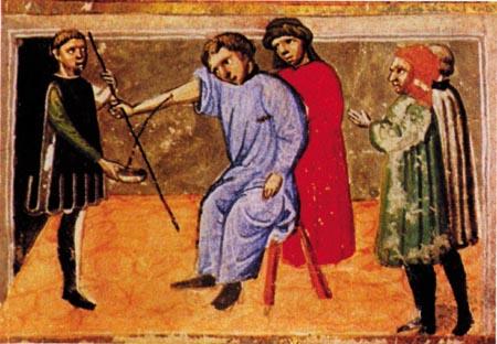 Durante muito tempo utilizou-se a hemorragia induzida (sangria) no tratamento de doenas.  Esta ilustra ? retirada de um manuscrito medieval do Canon de Medicina, obra de Avicena, o maior m?dico da Idade m?dia C: Reprodu?o Cr?nica de la medicina pag 83