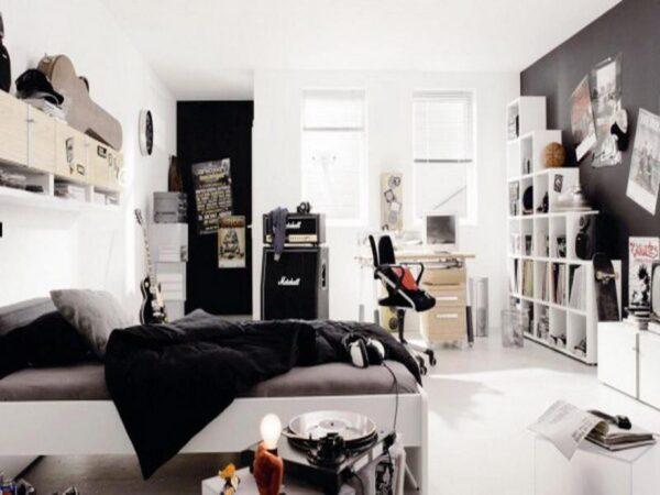 Bedroom One Single Bed Hipster Bedroom With Black Grey Industrial inside Minimalist Bedroom Hipster - Man 17