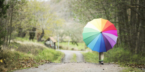 Girl with colourful umbrella