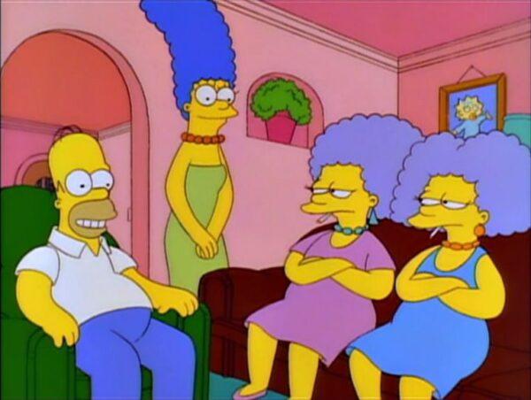 Patty e Selma na casa de Homer e Marge